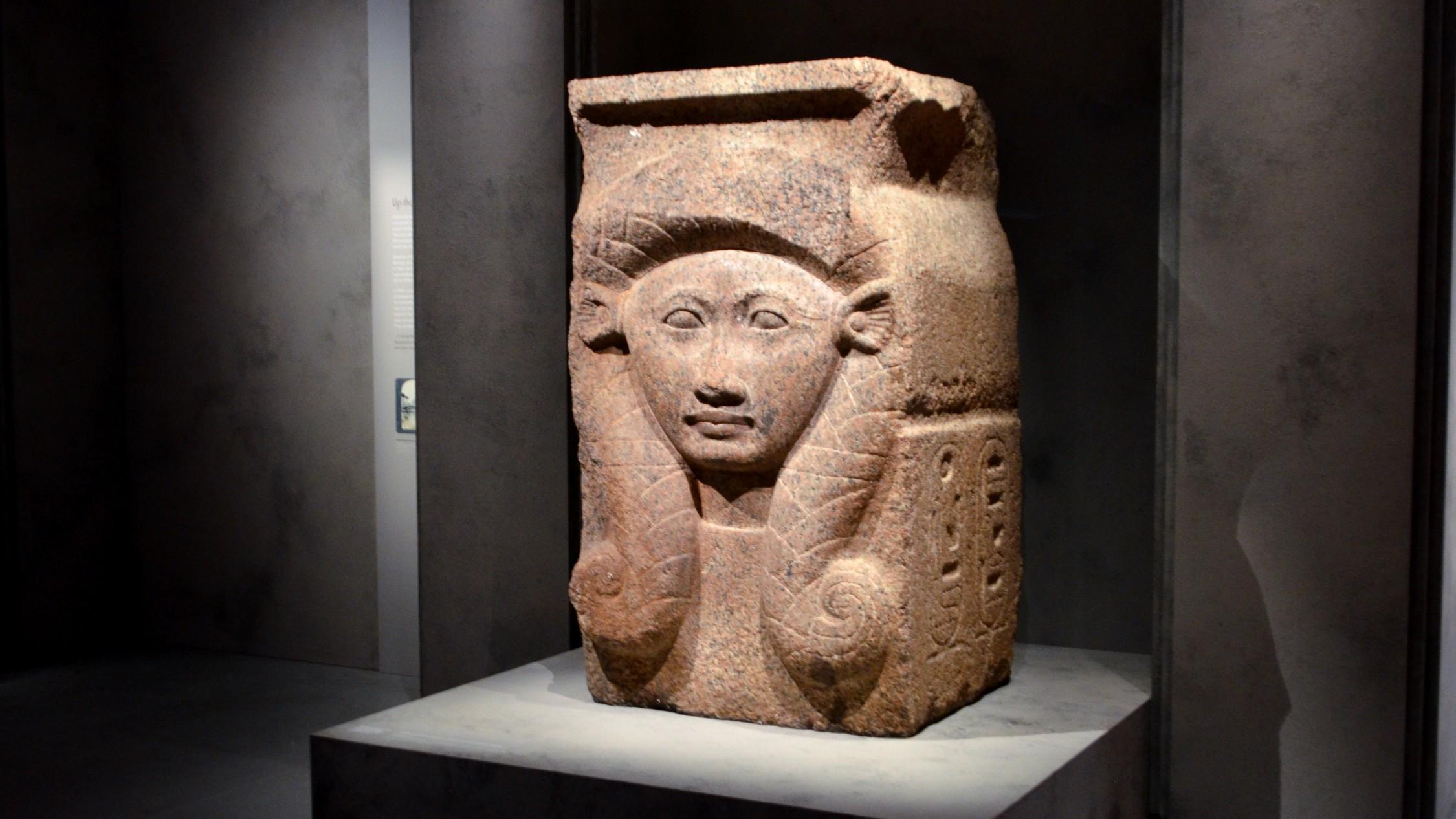 Large sculpture of goddess Hathor.