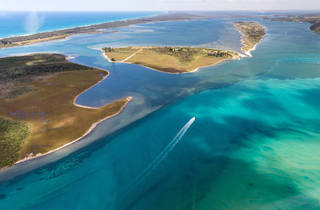 Aerial over Lakes Entrance