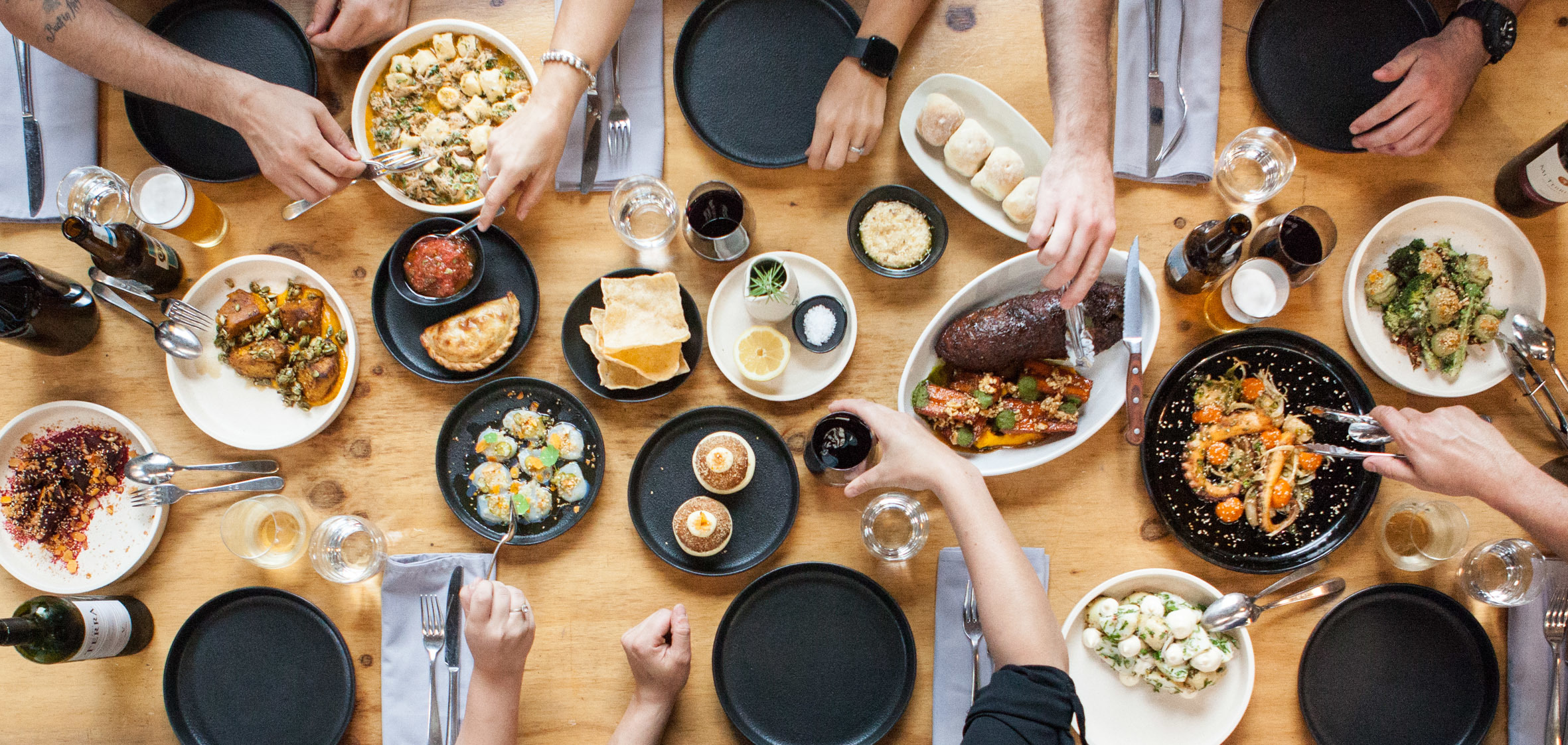 Food spread across table