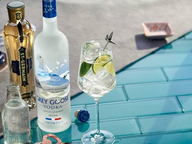 Grey Goose vodka bottle and Le Grand Fizz cocktail