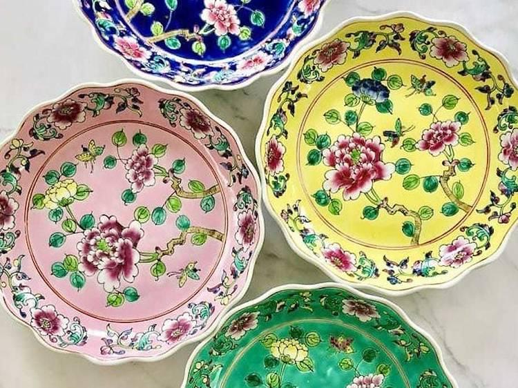 Peranakan scalloped plates ($68)