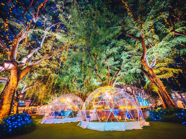 You can have a festive meal in a private dome at CHIJMES and Capitol Singapore