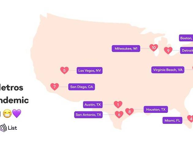 This map highlights the best cities in the U.S. for pandemic dating