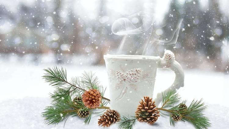coffee, snow, winter