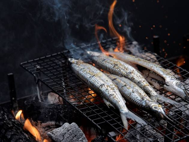 Fish over grill at Woodcut