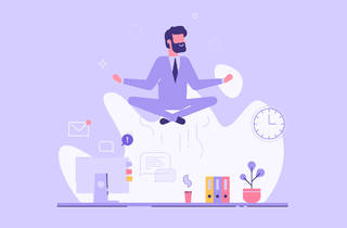 Man in a suit doing yoga