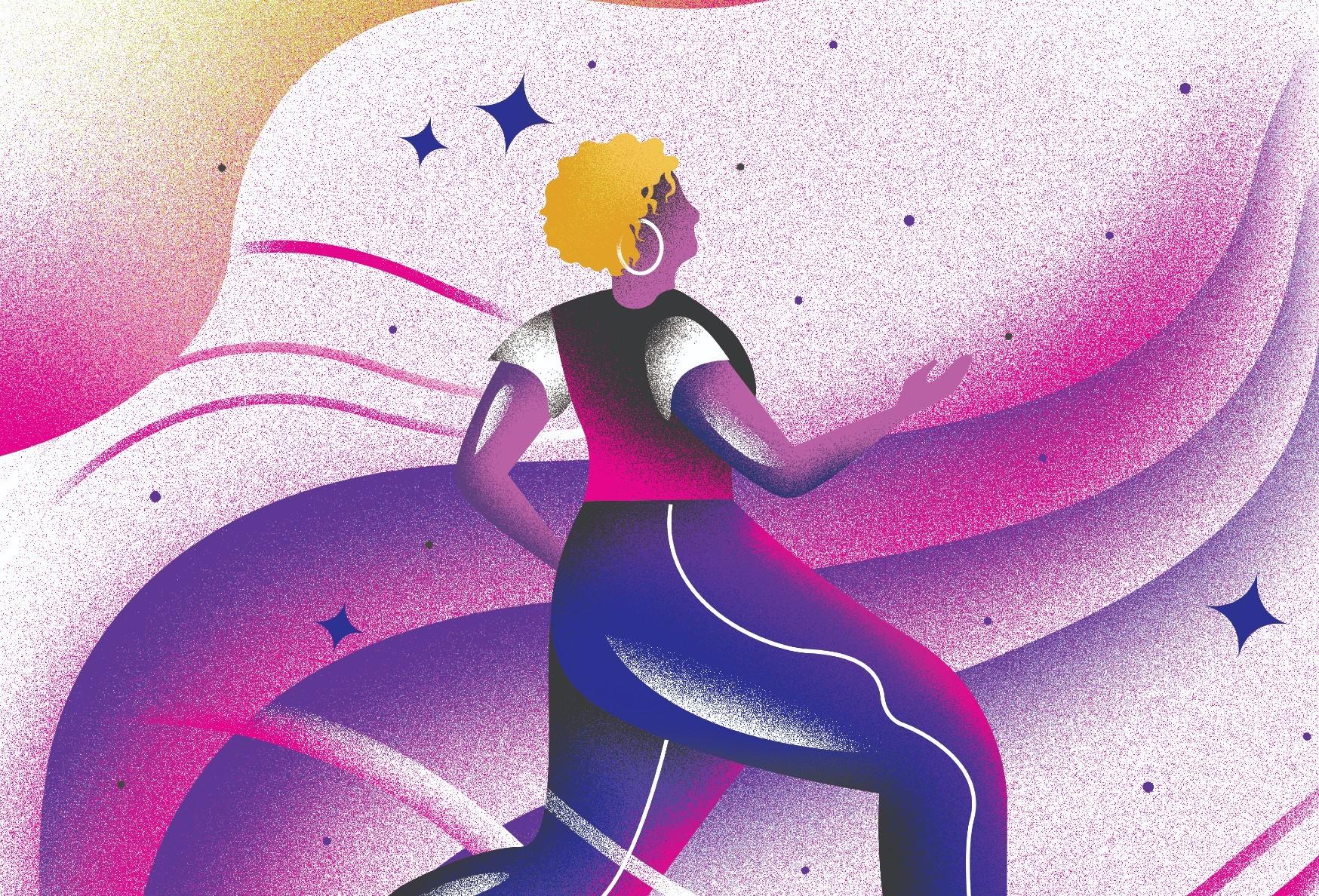 A woman running