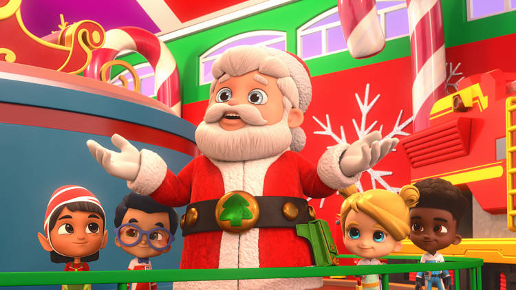 MIGHTY EXPRESS: A MIGHTY CHRISTMAS (L TO R) ELF, NICO, SANTA CLAUS, MAX and LIZA in MIGHTY EXPRESS:  A MIGHTY CHRISTMAS.  Cr. COURTESY OF NETFLIX © 2020