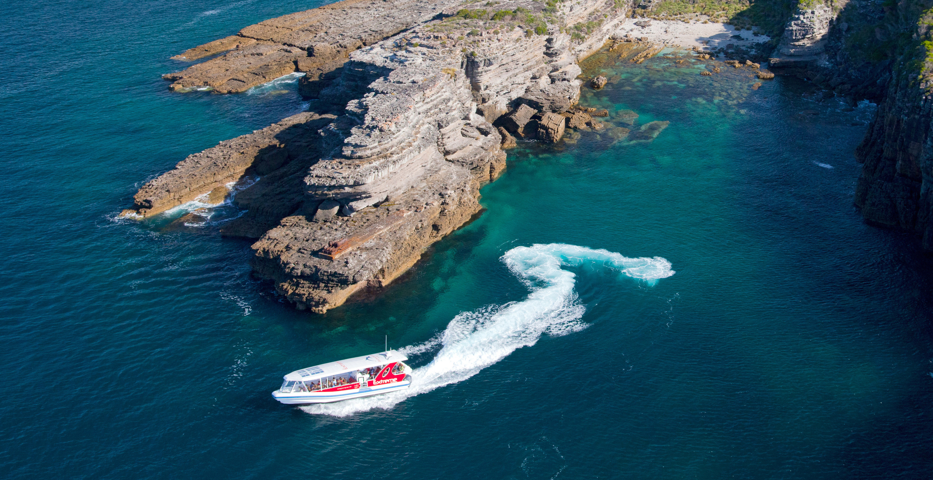 Aerial view of Extreme cruise boat at Jervis Bay harbour, Dolphin Watch Cruises Jervis Bay, South Coast