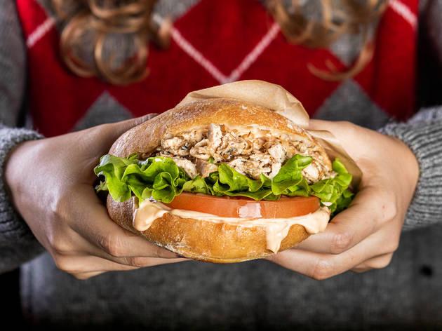 Hamburguesa de pollo asado de Piri piri
