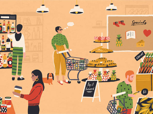 Illustration of people browsing a supermarket