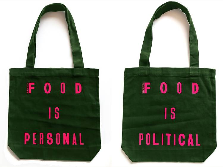 """Now Serving's """"Food is Political, Food is Personal"""" tote bag"""