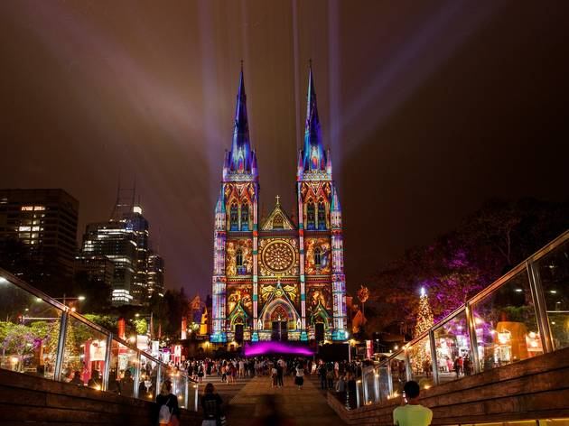 St Mary's Cathedral lit up with stained glass window projections