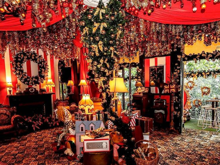 Check out this extremely OTT, tinsel-strewn bar
