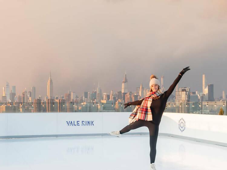 Ice skate with skyline views