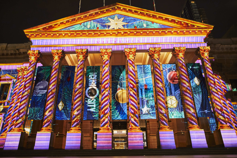 Melbourne Town Hall Christmas lights 2020 display
