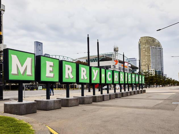 Melbourne Christmas lights Docklands Merry Christmas 2020