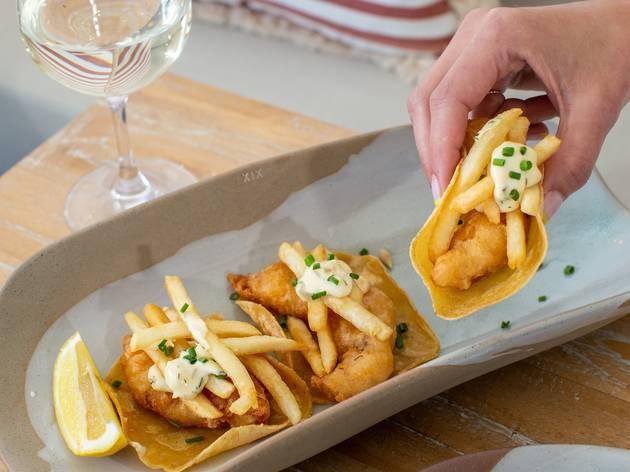 Fish and chip tacos at Calita