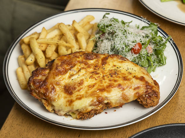 Parma, salad and chips