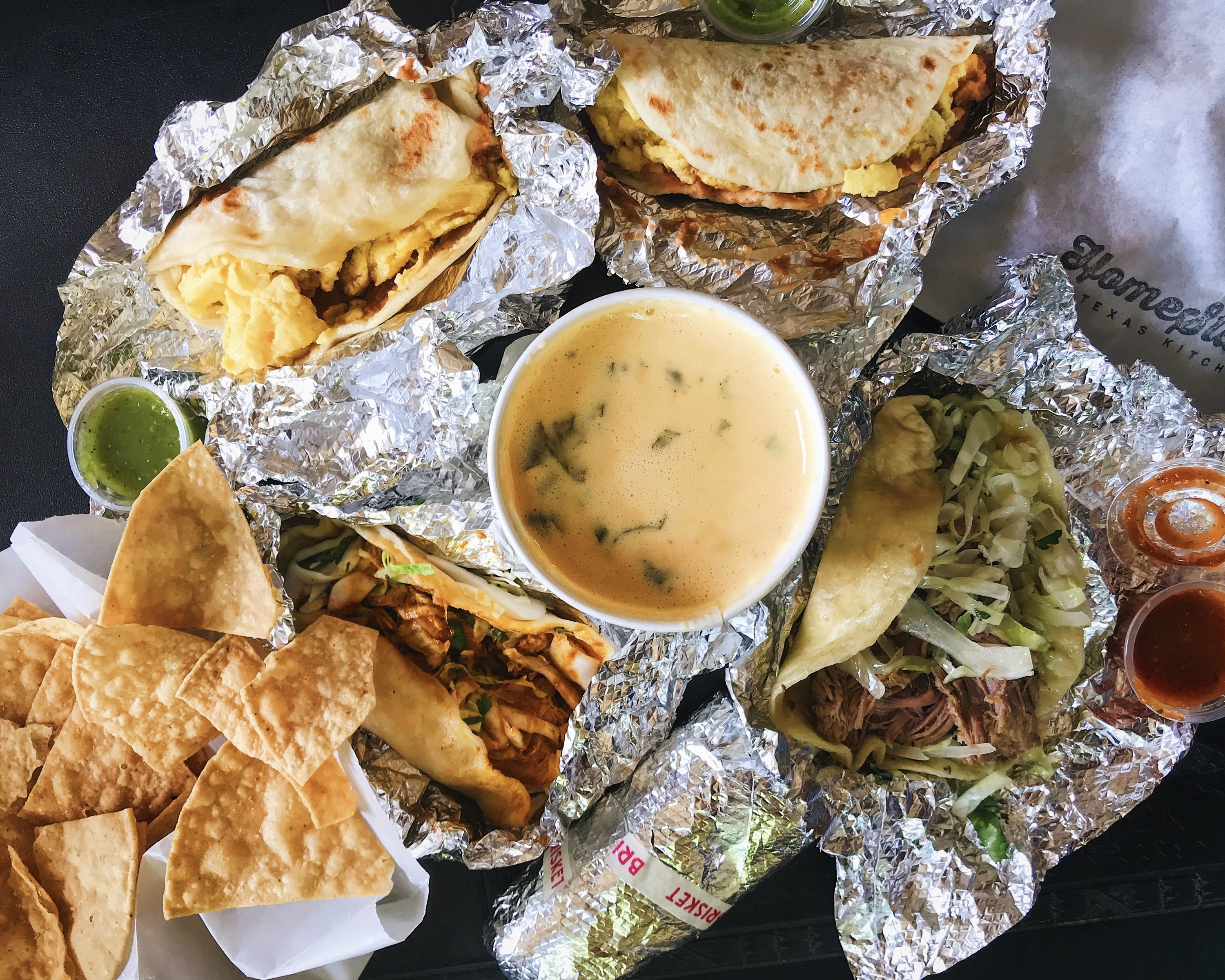 HomeState breakfast tacos and queso