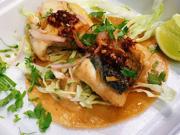 Thai Taco Tuesday fish taco at Anajak Thai Cuisine