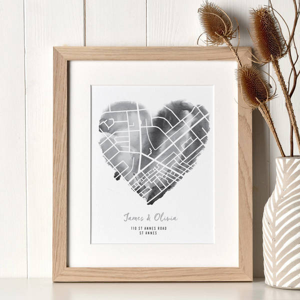 Personalised map heart print