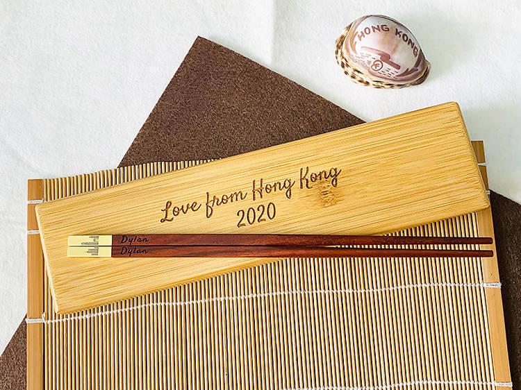 My Love HK's engraved wooden chopsticks