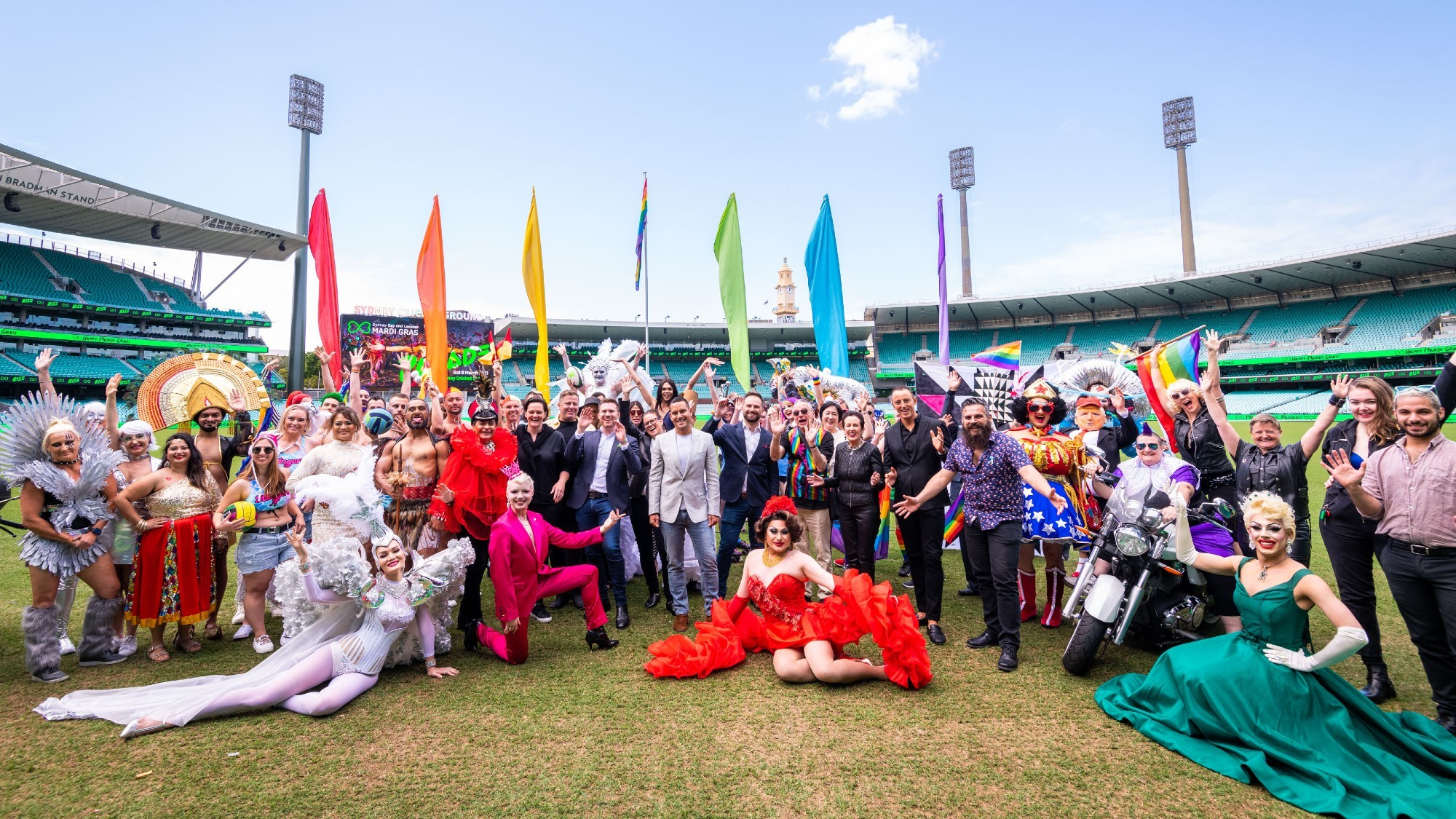 Crowd of performers and representatives gather at the SCG to launch the 2021 Mardi Gras