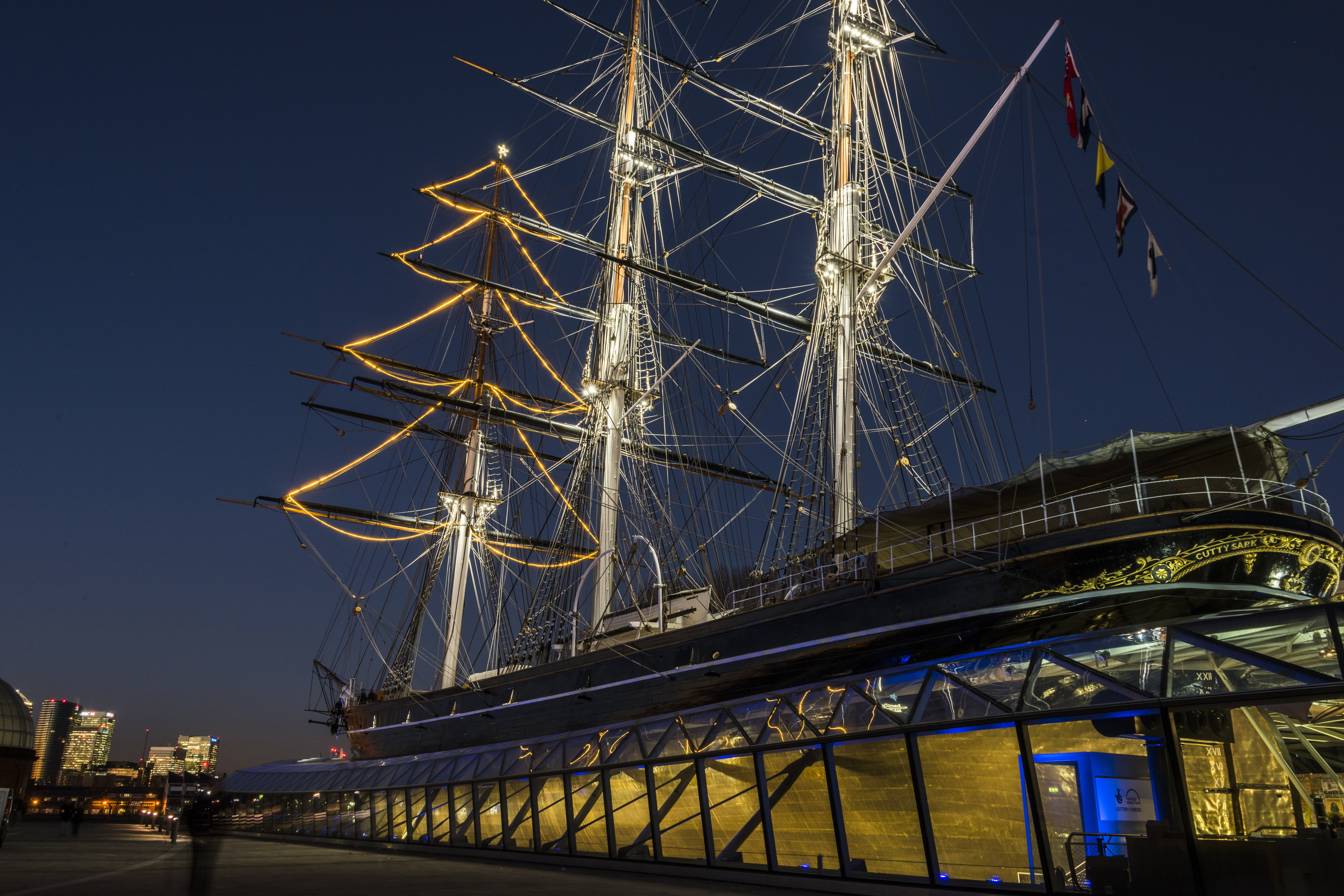 Cutty Sark christmas tree decorations with star on top at sunset.