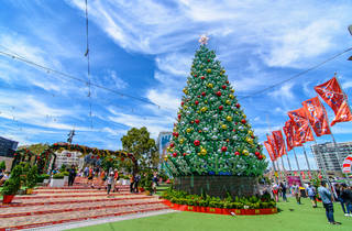Melbourne Christmas light decorations 2020 Federation Square