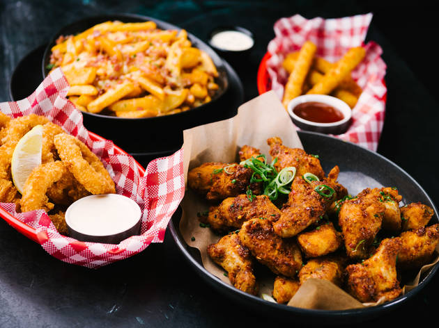 Lone Star fried chicken, calamari, loaded fries and fries with sauce