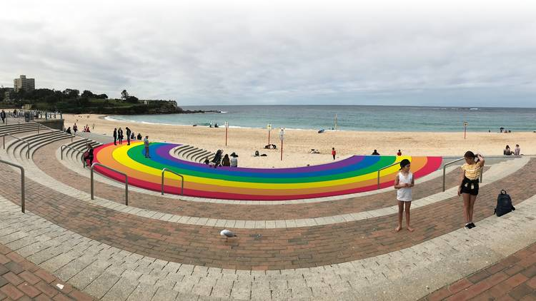 Artist's impression of rainbow walkway concept at Coogee Beach.