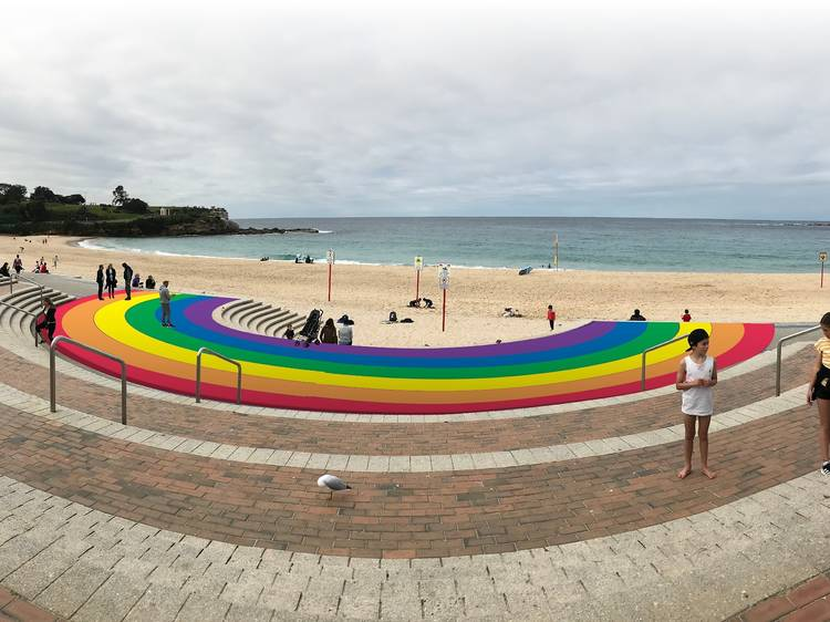 The council approved the painting of a brand new rainbow walkway on Coogee Beach