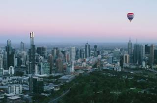 A hot air balloon over Melbourne's CBD