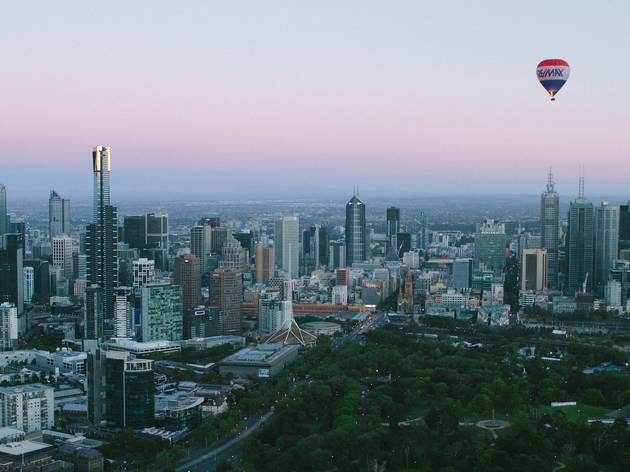 A hot air balloon over Melbourne's CBD