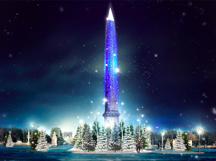 Place de la Concorde (8e) : l'obélisque de Noël bleu