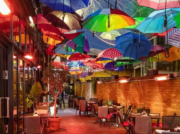 discarded umbrellas at Bala Baya