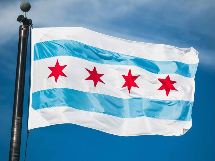 What do the four stars on the city's flag represent?