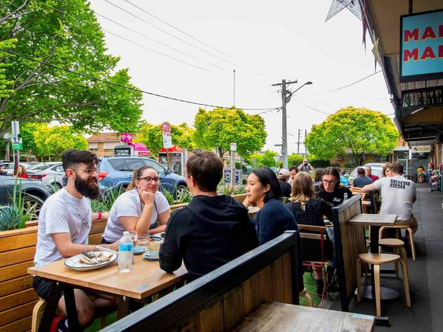 Outdoor dining at Mabu Mabu in inner west Melbourne