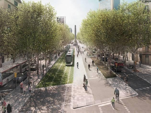 El tramvia circularà pel tronc central al costat d'un carril bici entre Marina i el passeig de Sant Joan