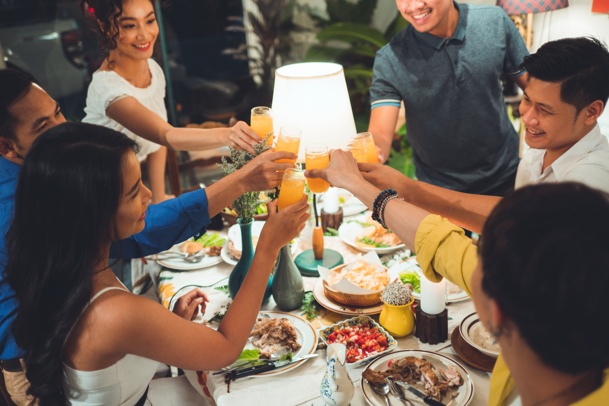 friends eating together, restaurant