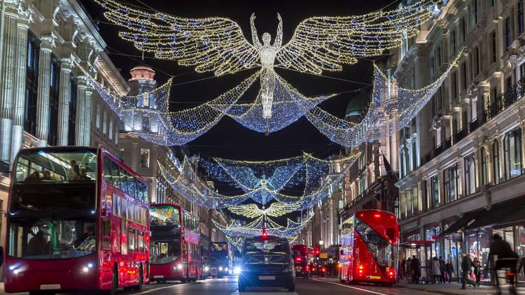 Londres decoración Navidad. Luces navideñas