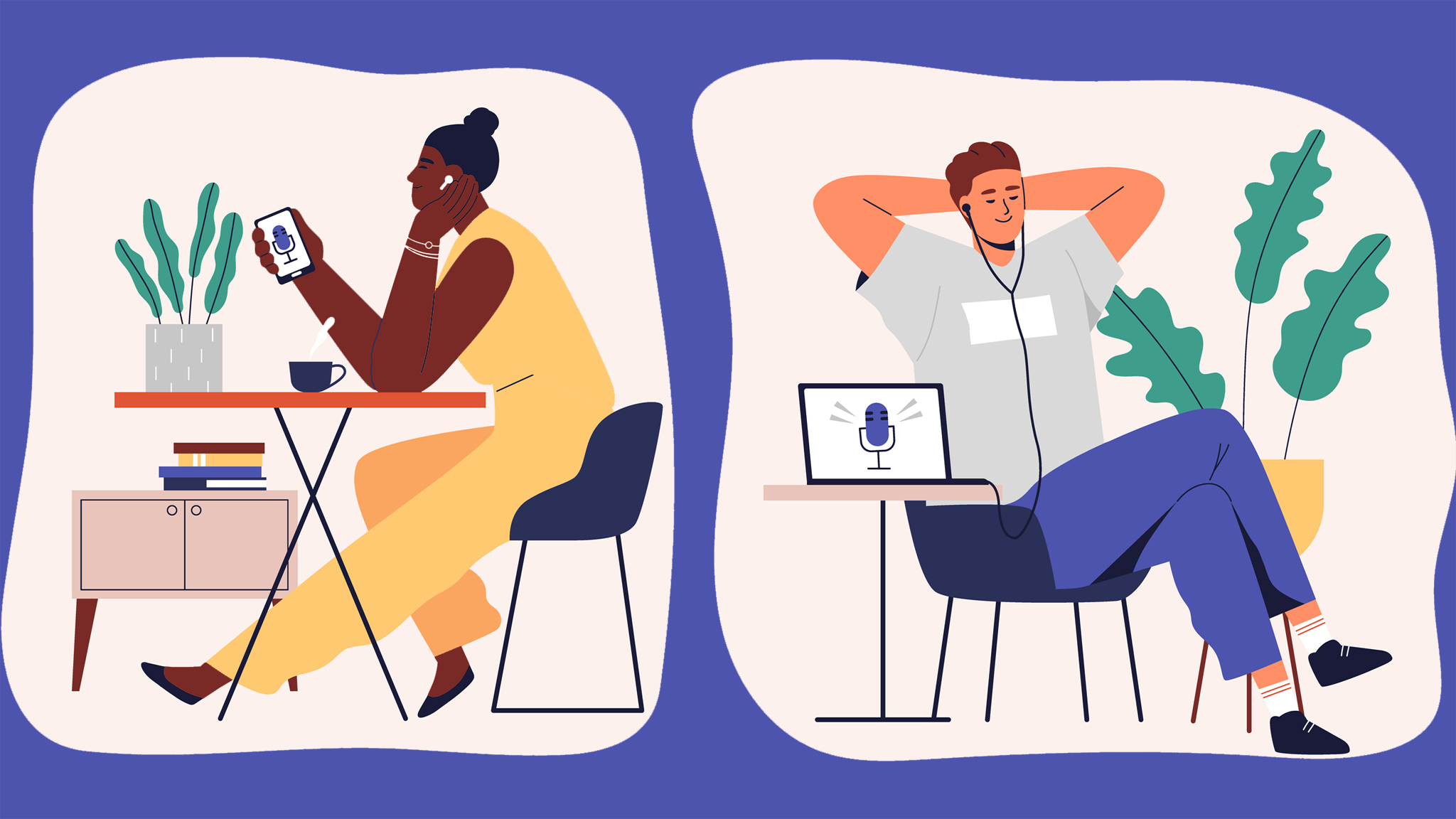 Illustration of two people sitting down listening to podcasts