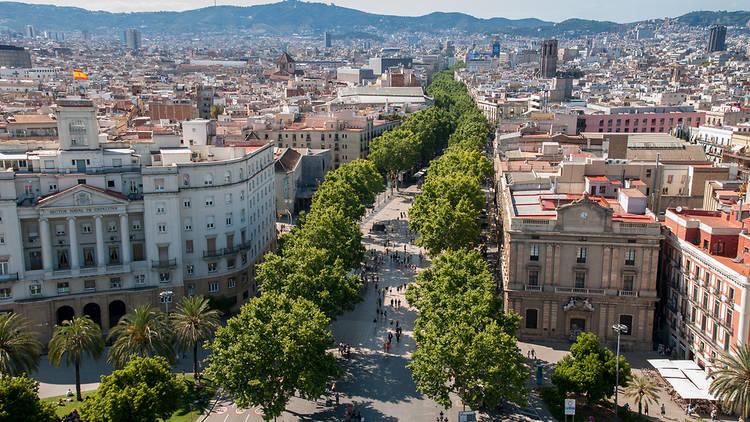 Vista aérea de La Rambla de Barcelona