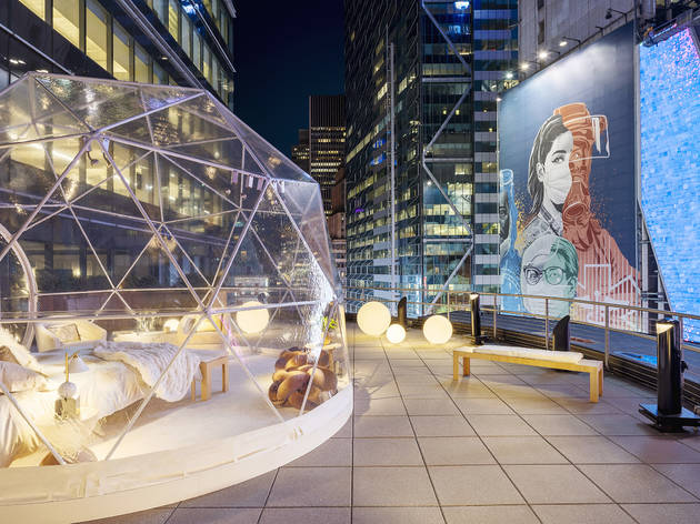You can sleep in a geodesic dome right under the Times Square NYE ball