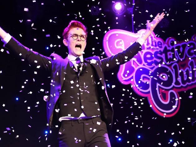 Comedian Rhys Nicholson on stage