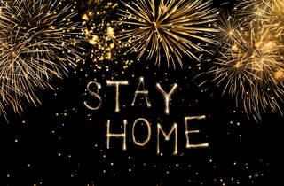 Fireworks spell 'Stay Home'