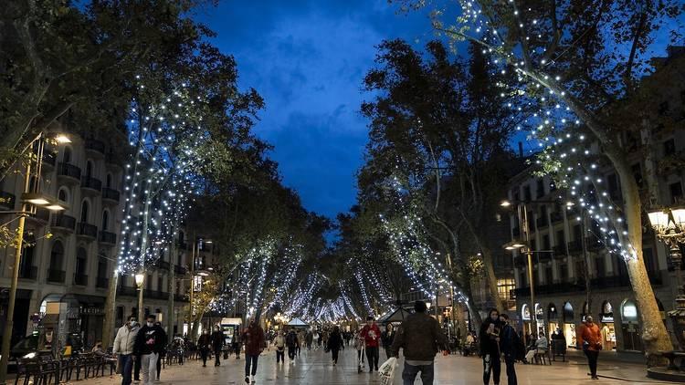 La Rambla amb els llums de Nadal