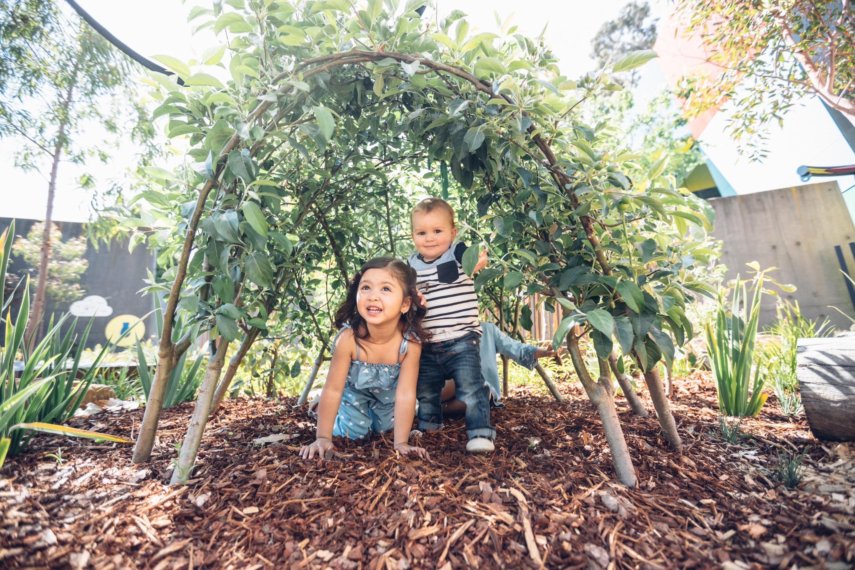 Children under an arch made of plants in the garden at the Pauline Gandel Children's Gallery, Melbourne Museum