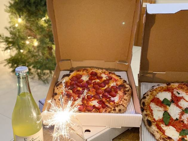 Great White New Year's Eve pizza package